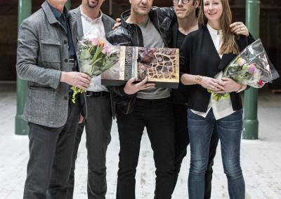 PLÅTPRIS-vinnarna: Roger Larsson (LINK Ark), Tomas Nilsson (Akademiska Hus), Carl-Fredrik Danielson (LINK Ark.), Andreas Fernek (LINK Ark.) och Camilla Starkenberg (LINK Ark.)